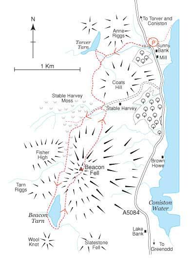 An Ordnance Survey Map of Beacon Tarn & Fell Route